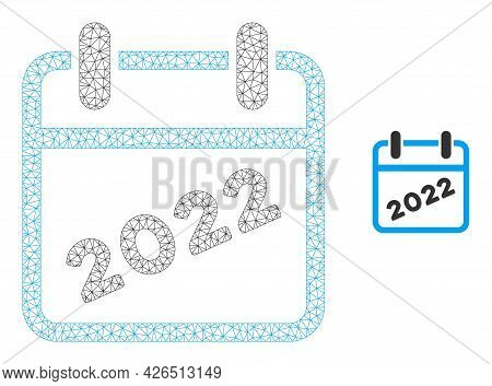 Mesh 2022 Calendar Model Icon. Wire Frame Triangular Mesh Of Vector 2022 Calendar Isolated On A Whit