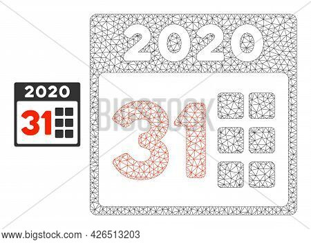 Mesh 2020 Last Day Model Icon. Wire Carcass Polygonal Mesh Of Vector 2020 Last Day Isolated On A Whi