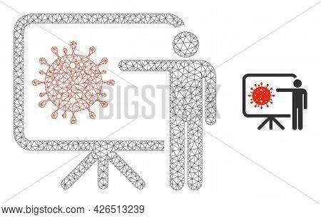 Mesh Coronavirus Lecture Model Icon. Wire Carcass Triangular Mesh Of Vector Coronavirus Lecture Isol