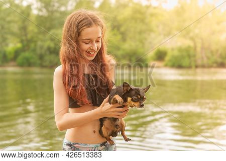 A Young Girl On The River With A Chihuahua In Her Hands. Summer Concept.
