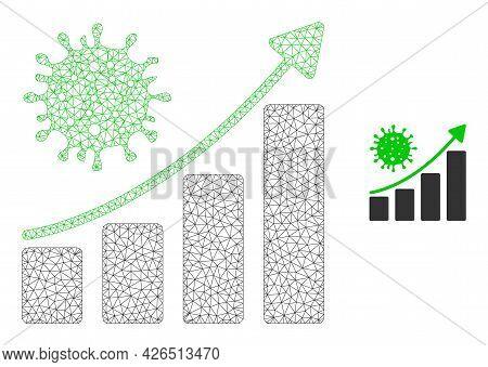 Mesh Coronavirus Growing Trend Model Icon. Wire Carcass Triangular Mesh Of Vector Coronavirus Growin
