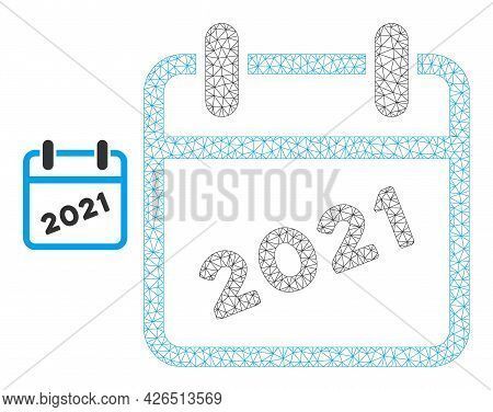 Mesh 2021 Calendar Model Icon. Wire Carcass Polygonal Mesh Of Vector 2021 Calendar Isolated On A Whi