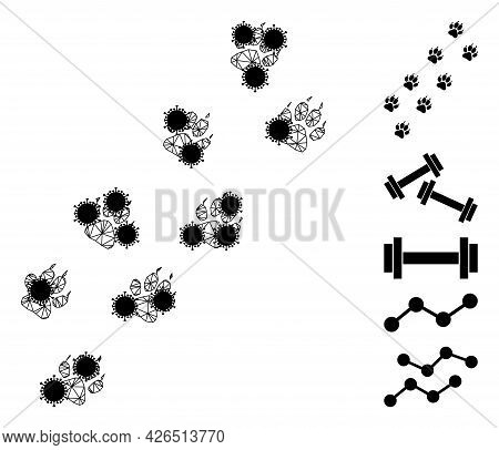 Mesh Tiger Paw Trace Polygonal Symbol Vector Illustration, With Black Virus Elements. Carcass Model