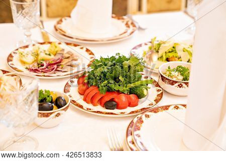Serving A Large Banquet Table In A Restaurant Or At Home For A Holiday.