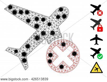 Mesh Closed Airplane Polygonal Symbol Vector Illustration, With Black Covid Centers. Abstraction Is