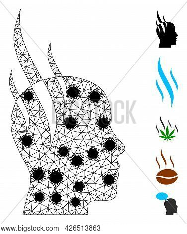 Mesh Brain Steam Polygonal Icon Vector Illustration, With Black Virus Items. Model Is Created From B