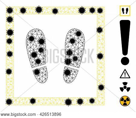 Mesh Stay Here Polygonal Icon Vector Illustration, With Black Infection Centers. Abstraction Is Base
