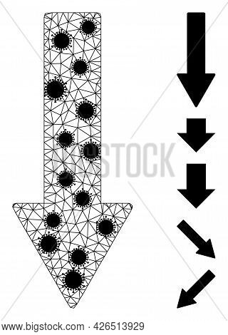 Mesh Down Arrow Polygonal Symbol Vector Illustration, With Black Infection Centers. Model Is Based O