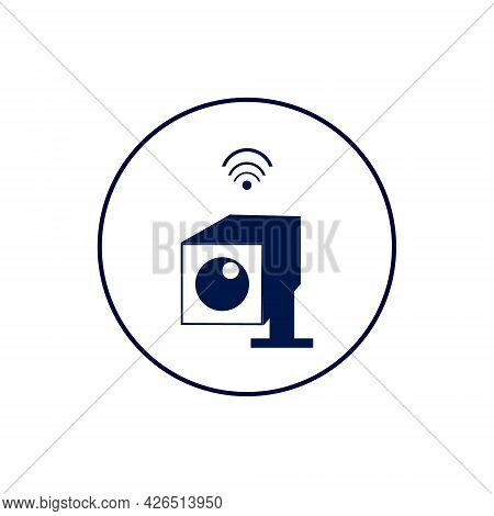 Smart Video Surveillance Icon Illustration. Camera With Wi-fi Symbol