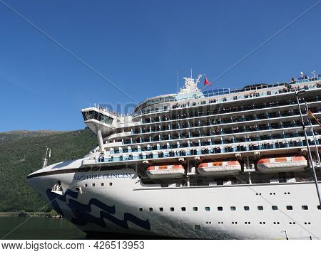 Flam, Norway On July 2019: Front Of Liner Sapphire Princess Cruises In Sogn Og Fjordane Region With