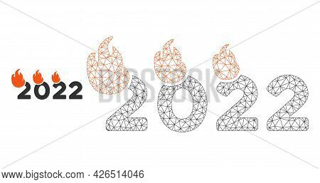 Mesh Fired 2022 Year Model Icon. Wire Carcass Polygonal Mesh Of Vector Fired 2022 Year Isolated On A