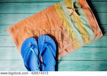 Summer Sunbathing Beach Concept- Towel, Flip Flops