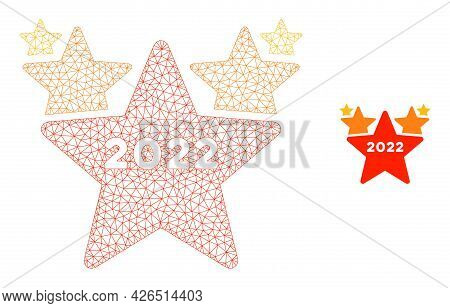 Mesh 2022 Star Hit Parade Model Icon. Wire Frame Triangular Mesh Of Vector 2022 Star Hit Parade Isol