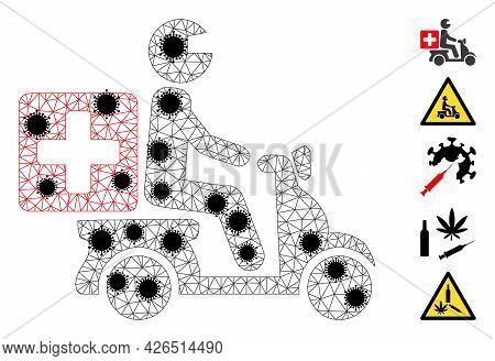 Mesh Medical Motorbike Polygonal Icon Vector Illustration, With Black Covid Elements. Carcass Model