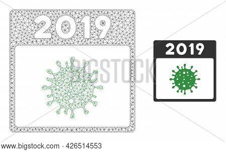 Mesh 2019 Covid Calendar Day Model Icon. Wire Carcass Triangular Mesh Of Vector 2019 Covid Calendar