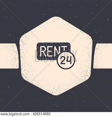 Grunge Hanging Sign With Text Rent Icon Isolated On Grey Background. Signboard With Text For Rent. M
