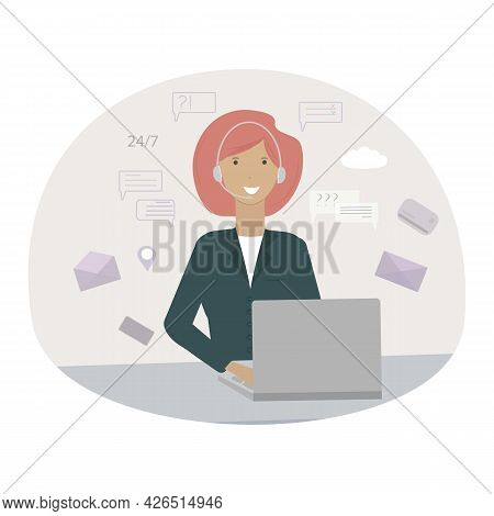 A Young Smiling Girl At The Computer. Online Support, Support Service, Call Center. Vector Illustrat
