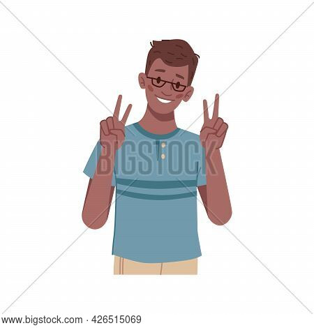 Gesturing Boy Showing Victory Or Peace Sign, Isolated Schoolkid Wearing Glasses. Symbol Of Success A