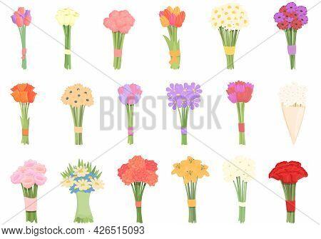 Bouquet Icons Set Cartoon Vector. Flower Basket. Vase Bunch