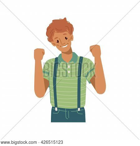 Boy Kid Raising Fists Gesturing And Celebrating Victory, Isolated Child Smiling And Enjoying Triumph