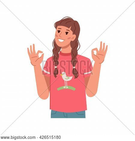 Girl Kid Showing Okay Gesture With Hands, Isolated Preteen Personage Approving Or Agreeing. Cool And