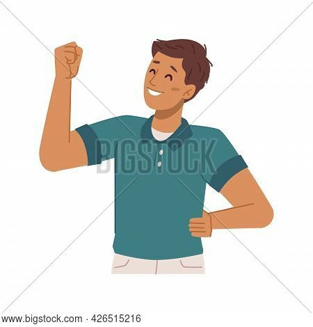 Happy Boy Kid Gesturing Showing Muscles, Isolated Personage Expressing Strength And Power. Confidenc