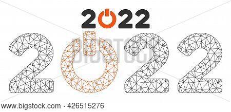 Mesh Start 2022 Caption Model Icon. Wire Frame Triangular Mesh Of Vector Start 2022 Caption Isolated