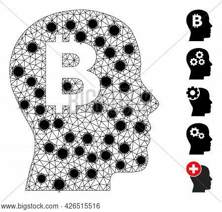 Mesh Bitcoin Imagination Polygonal Icon Vector Illustration, With Black Coronavirus Elements. Carcas