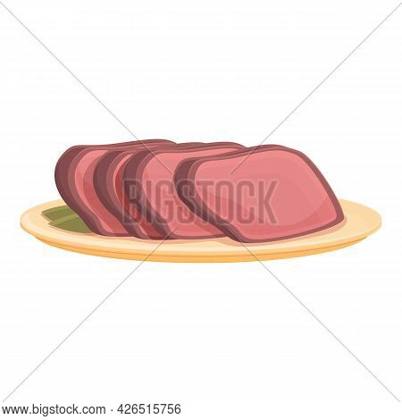 Cutted Meat Slice Icon Cartoon Vector. Cut Raw Food. Beef Steak Meat