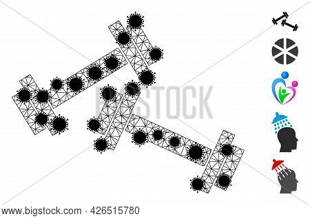 Mesh Barbells Polygonal Icon Vector Illustration, With Black Infection Nodes. Model Is Created From