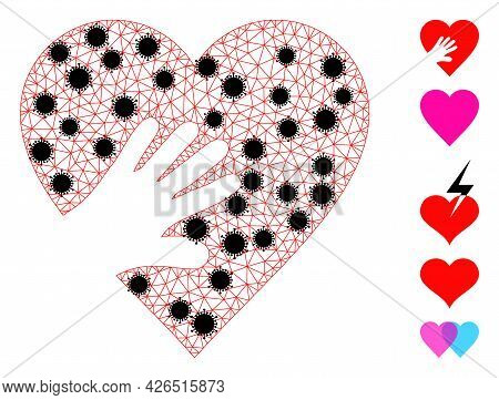 Mesh Hand Touch Heart Polygonal Icon Vector Illustration, With Black Infection Centers. Model Is Cre