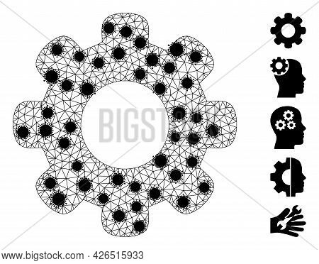 Mesh Gear Wheel Polygonal Icon Vector Illustration, With Black Infection Nodes. Model Is Based On Ge
