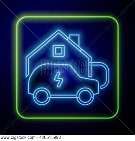 Glowing Neon Electric Car Parking Charging At Home Wall Box Charger Station On House Icon Isolated O