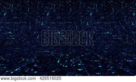 Circuit Board Dark Blue Background With Running Impulses, Computer, Microchip Nano Technology Concep