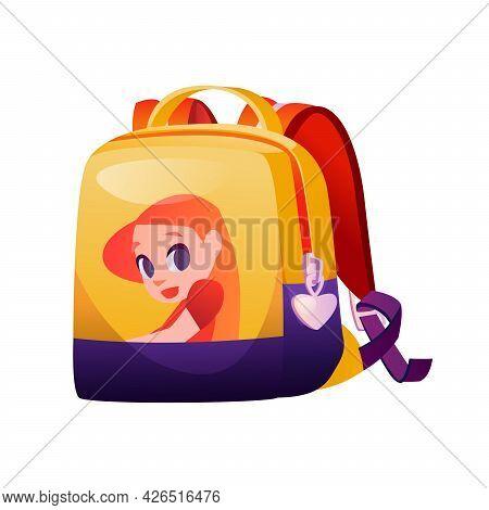 Girlish Schoolbag With Girl Character, Isolated Modern Design Of Backpack For School. Feminine Rucks