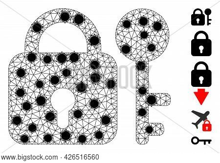 Mesh Secrecy Polygonal 2d Vector Illustration, With Black Covid Nodes. Carcass Model Is Created From