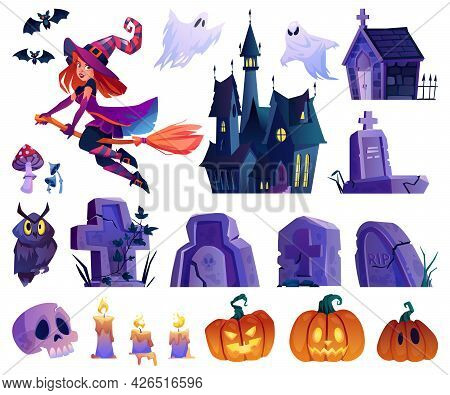 Witch Character And Flying Bats, Owl And Pumpkins, Gravestones And Castle, Ghost Apparition And Cand