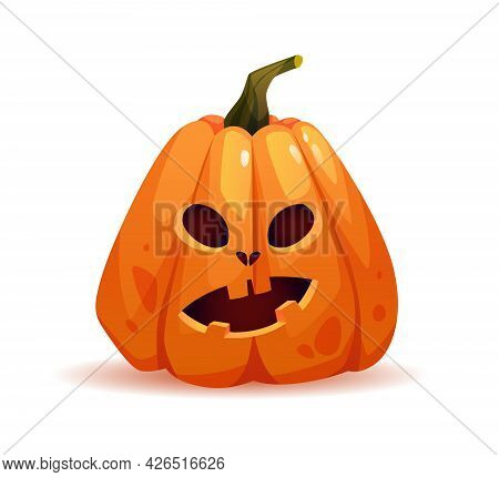 Shocked Halloween Pumpkin With Wondering Facial Expression, Autumn Personage With Emotion On Face. S