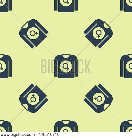 Blue Feminist Shirt Icon Isolated Seamless Pattern On Yellow Background. Fight For Freedom, Independ