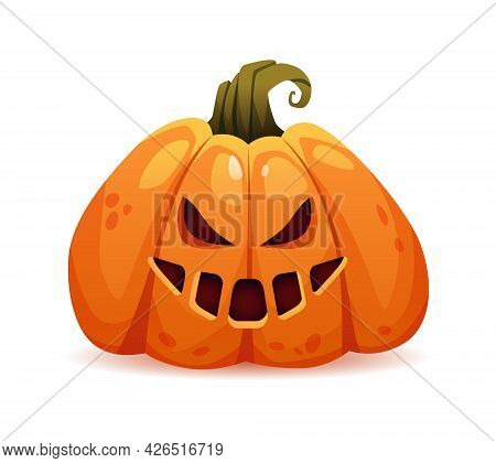 Scary Halloween Pumpkin With Evil Facial Expression And Bad Emotions. Grinning And Laughing Face Of