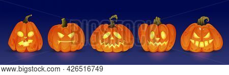 Good And Evil Glowing Halloween Pumpkin Characters, Haunting Jack O Lanterns With Light. Trick Or Tr