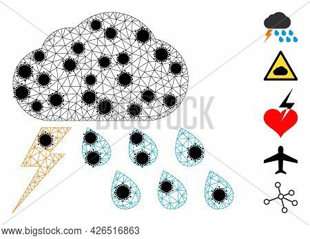 Mesh Thunderstorm Weather Polygonal Icon Vector Illustration, With Black Infectious Centers. Model I