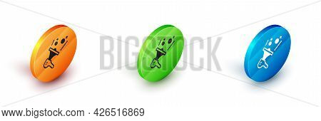 Isometric Female Movement, Feminist Activist With Banner And Placards Icon Isolated On White Backgro