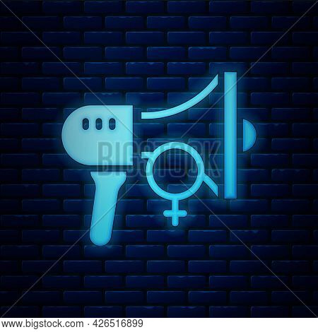 Glowing Neon Female Movement, Feminist Activist With Banner And Placards Icon Isolated On Brick Wall