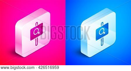 Isometric Female Movement, Feminist Activist With Banner And Placards Icon Isolated On Pink And Blue