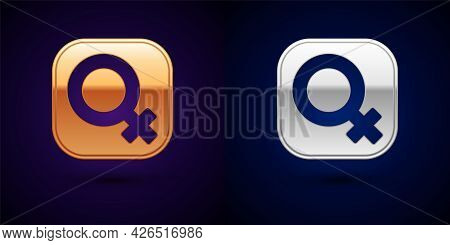 Gold And Silver Female Gender Symbol Icon Isolated On Black Background. Venus Symbol. The Symbol For