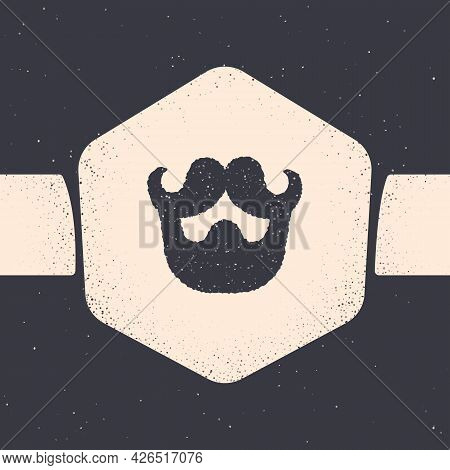Grunge Mustache And Beard Icon Isolated On Grey Background. Barbershop Symbol. Facial Hair Style. Mo