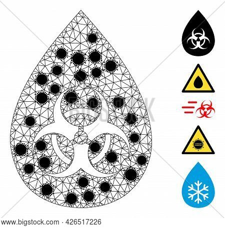 Mesh Biohazard Drop Polygonal 2d Vector Illustration, With Black Covid Centers. Abstraction Is Based