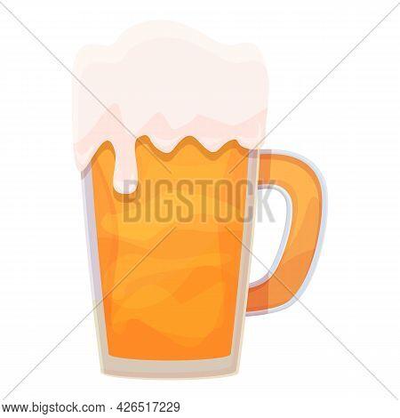 Beer Mug Icon Cartoon Vector. Foam Glass Drink. Pint Bar Toast