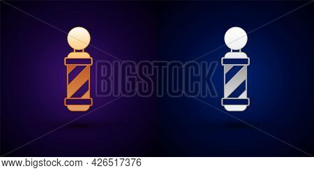 Gold And Silver Classic Barber Shop Pole Icon Isolated On Black Background. Barbershop Pole Symbol.